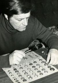 Ivo Tomáš with his collection of uniform buttons - 1982
